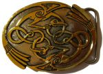 24ct. Gold & Silver Plated Entwined Bird lated Twin Creature Celtic Design Belt Buckle with display stand